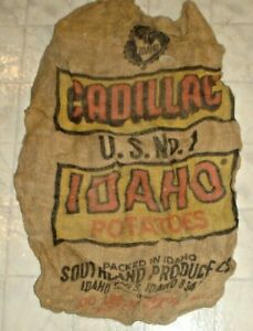 Vintage Cadillac U.S. No.1 Idaho Potatoes Burlap Sack, Bag Idaho Falls, Idaho X2