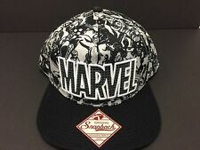 Marvel Black & White Comic Text Logo All Over Print Cap Original Snapback Hat