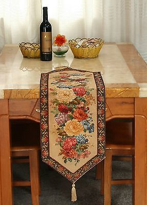 Colorful Tapestry Country Rustic Floral Morning Awakening Table Runner