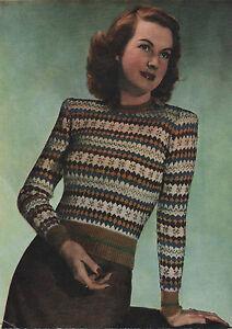 Vintage Knitting Pattern Lady S 1940s Fair Isle Sweater Jumper Ebay