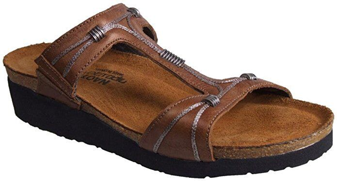 New  Woman's Brown Naot 'Dana' Leather Slide Sandals Size 5 EU36 9205