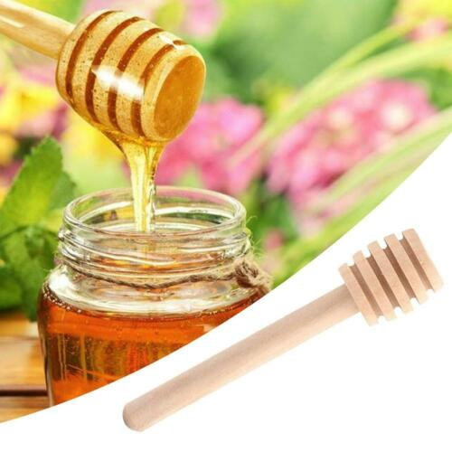 2pcs Wooden Honey Dipper Jar Wood Stirring Stick Jam Rod Spoon Dip Dispenser