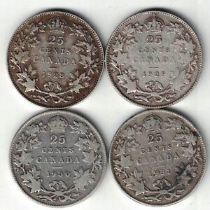 4-X-CANADA-TWENTY-FIVE-CENTS-QUARTERS-KING-GEORGE-V-800-SILVER-COINS-1928-1931