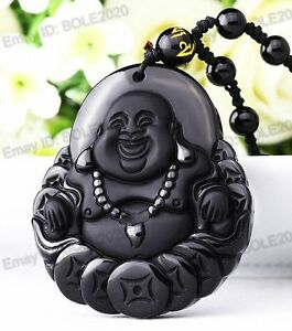 100-Natural-Obsidian-Hand-Carved-Coin-Buddha-Lucky-Pendant
