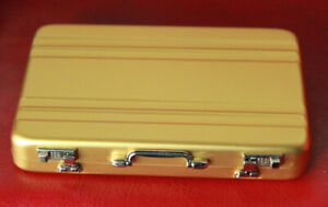 1/3 1/4 scale BJD Dollfie Aluminum Briefcase Suitcase Halliburton Style Gold