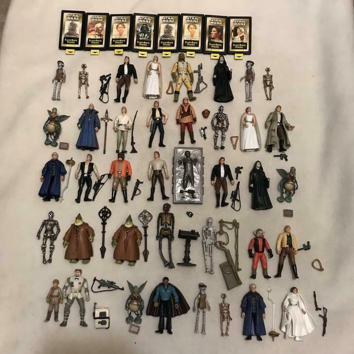 Lot of 38 1990's Star Wars Hasbro & Mattel Action Figures with accessories