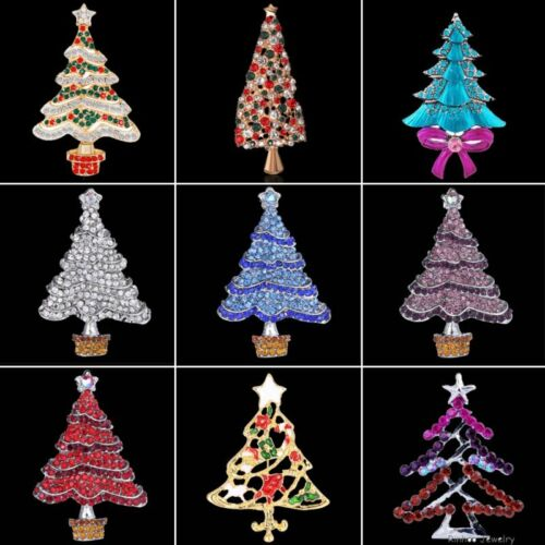 Women Men Christmas Tree Brooches Pin Crystal Xmas Party Jewelry Holiday Gift