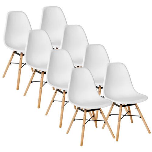 8 Set Stühle Esszimmerstühle Stuhl Sessel Retro Weiß Kingpower