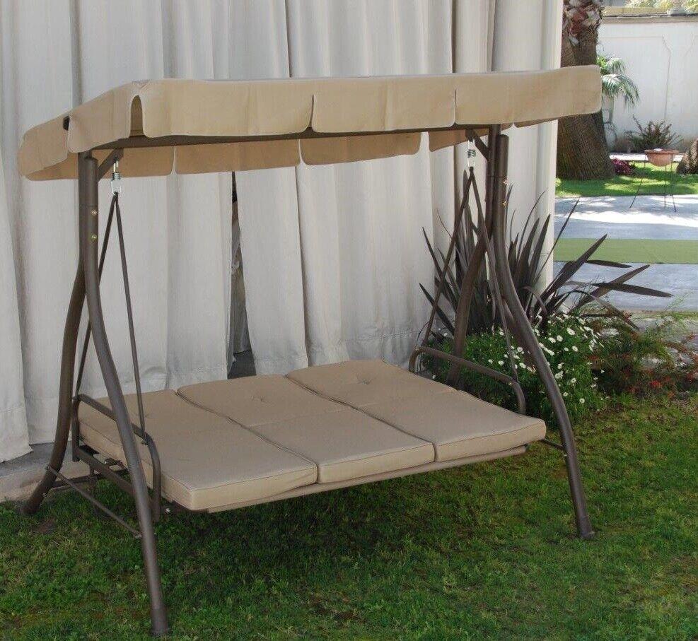 Dondolo a 3 posti Verline ecrù tortora in ferro con tettuccio parasole