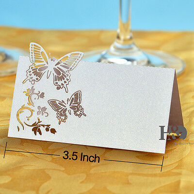 72PCS White Butterfly Laser Cut Wedding Party Table Name Place Cards Favor Decor