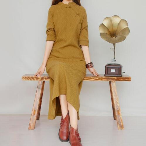 Retro Womens Chinese Maxi Dress Long Sleeve Linen Cotton Dress Casual Qipao Chic