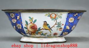 6-2-034-Qianlong-Marque-Vieux-Chinois-Cloisonne-Email-Fleur-Oiseaux-Peche-Pot-Jar