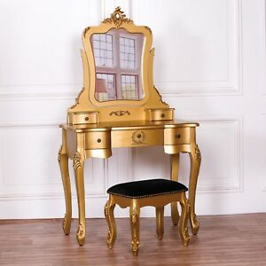 new concept 7ea48 b8a59 Details about French Style Gold Dressing Table Makeup Desk Vanity With  Mirror and Stool Set