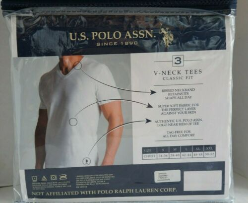 3 Pack V-NECK TEE SHIRTS White S M L XL XXL 100/% Cotton Polo Assn U.S