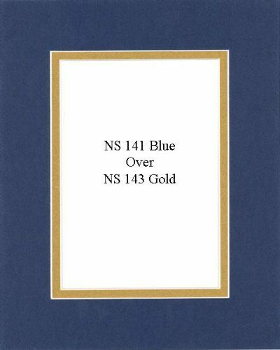 Backing Bags Pack of 10 11x14 Blue-Gold DoubleMats with White Core for 8x10