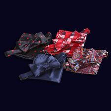 Amedeo Exclusive New Silk Self Bow Tie set w/ Handkerchief & Gift box (Turkey)