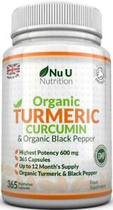 Organica-la-Curcuma-Curcumina-365-capsulas-de-600mg-de-alta-resistencia-organica-Pimienta-Negra