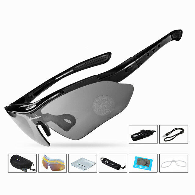 380ffcc867e RockBros Polarized Cycling Sunglasses Goggles Eyewear Sport Glasses 5  Lenses Black for sale online