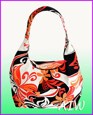 Large Hawaiian print hobo bag w/top zipper - 134Orange