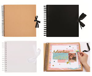 8-034-Square-Scrapbook-Spiral-Bound-Ribbon-Tie-Photo-Album-Display-Guest-Book-Craft
