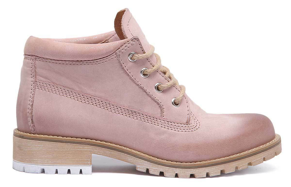 Justin Reece England Stella Womens Womens Stella Pink Leather Matt Ankle Boots UK Size 3 - 8 11d00a