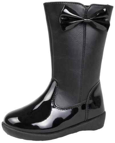 Ragazze nero in finta pelle alti fino al ginocchio Stivali 3D brevetto Bow Scuola Invernale Tg UK
