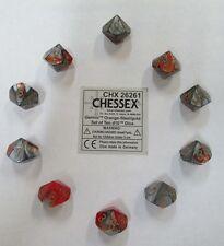 Chessex Dice d10 Sets Gemini Orange / Steel W/ Gold Ten Sided Die (10) CHX 26261