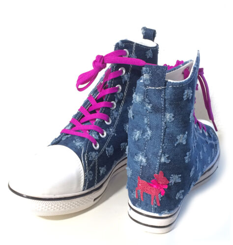 Oktoberfest Sneaker Jeans Trachten Top zapatos Blue Dirndl High Wedge vqwCawYZ