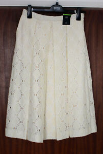 M-amp-S-Collection-Size-12-Cotton-Blend-Cream-Lace-Pleated-Midi-Skirt-Bnwt