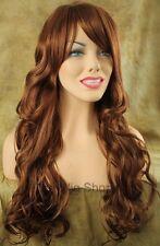 Long Wavy Strawberry Blonde 27 Red 29 Mix Wig Bangs Skin Top Kanekalon BW