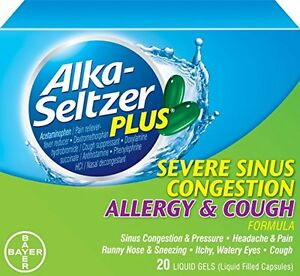 Details about 2 Pack Alka-Seltzer Plus Severe Sinus Congestion Allergy and  Cough 20 Gels Each