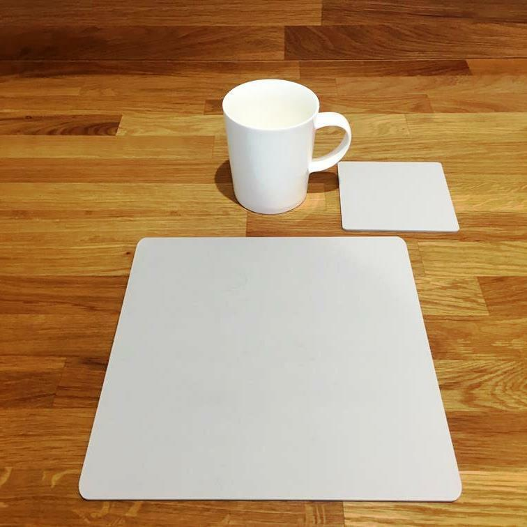 Square Shaped Light Grey Mat Acrylic Placemats & Coasters 4 6 8 Size 9  12