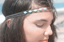 Accessoire mariage,bijou de cheveux, headband 3 chaines argentées pierres bleues