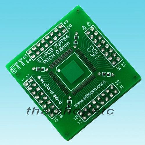 2 pieces TQFP64 TQFP-64 Adapter PCB SMD Convert DIP