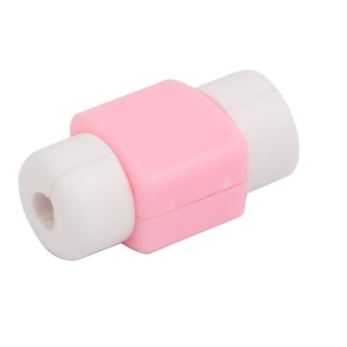 Set of 2 White Pink Cable Protector Line Sets Data Cable Savior for iphone