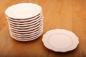 12-Pfaltzgraff-Cream-Lite-Pink-With-Blue-Stripe-Saucers