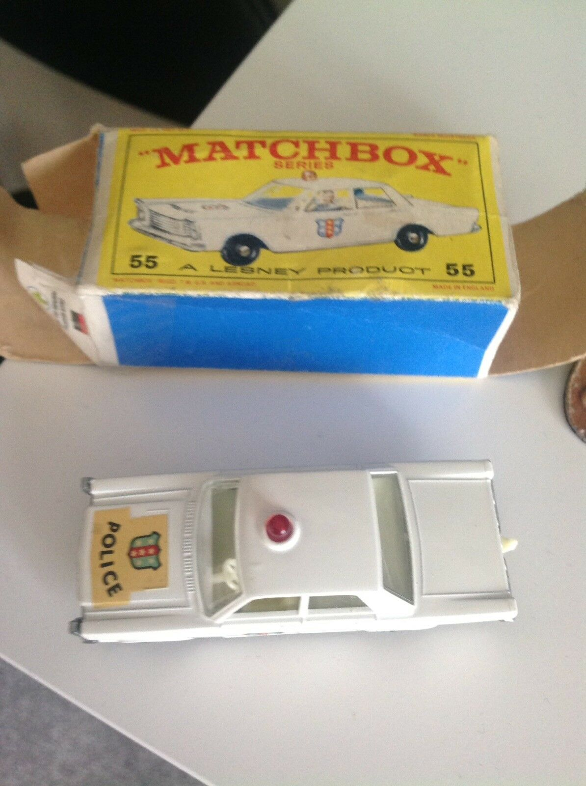 Matchbox 55 Police Car Red Light Pre Owned