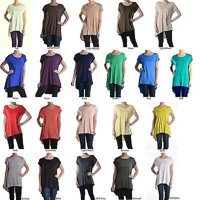 Women Scoop Neck Short Sleeve Asymmetrical Hi-Low Hem Long Tunic Top Shirt Dress