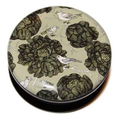 Vintage Green Flowers and Birds Acrylic Screw-Fit Flesh Plug Tunnel Stretcher