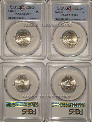 2010 P /& D Jefferson Nickel 2 Coin Set  5c PCGS SP68FS Satin Finish