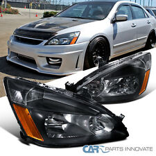 For 2003-2007 Honda Accord 2/4Dr Replacement Black Headlights+Amber Signal Lamps