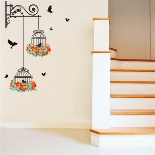 Flower Vine Bird Cage Wall Stickers Art Decal Home Decor Mural Removable ONE