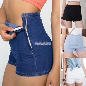 Mini-Women-Slim-High-Waist-Jeans-Denim-Tap-Short-Hot-Pants-Tight-A-Side-Button-F
