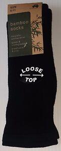 3 PRS AUST. MADE MENS SZ 6-11 BLACK BAMBOOO LOOSE TOP CUSHIONED SOLE DRESS SOCKS