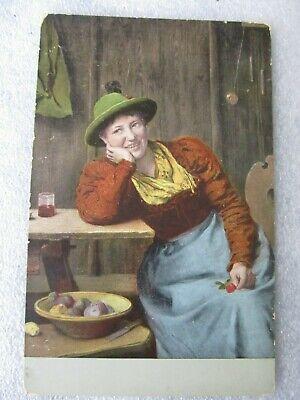 Beautiful Woman Vintage ART Postcard S HILDESHEIMER Series 5241 c1905 SPRING