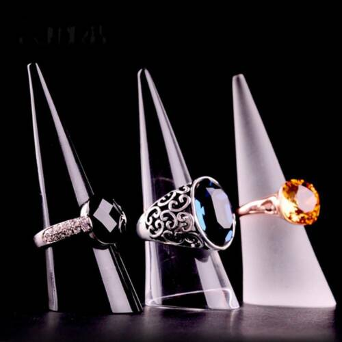 Acrylic Finger Cone RingsJewelry Display Holder Show Ornament Exhibition 5Pcs