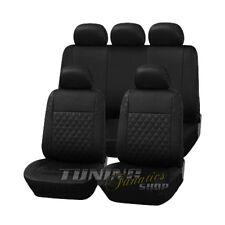 Leder Kunstleder Sitzbezug Sitzbezüge Schwarz Karo #1 für VW Seat Skoda