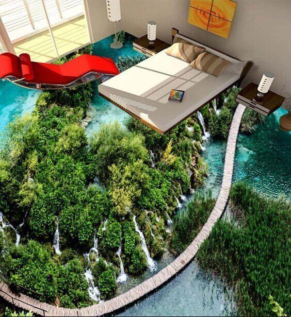 3D Mountain Lake Waterfall Floor Mural Photo Flooring Wallpaper Home Wall Decal