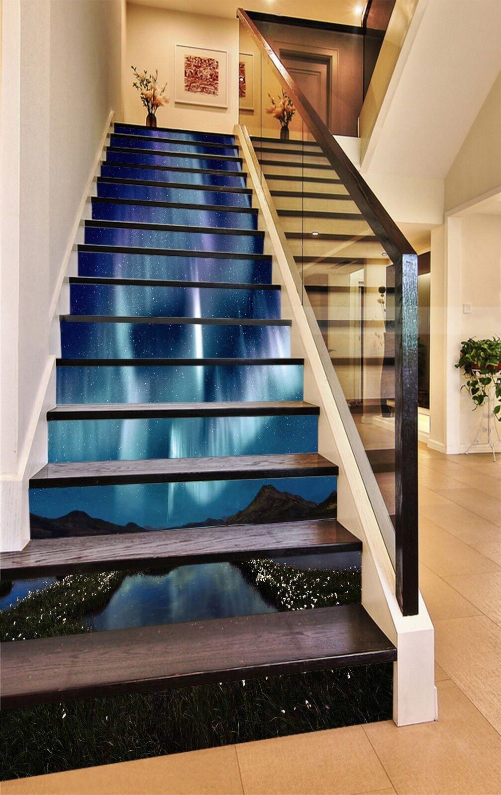 3D bleu eau Stone 323 contremarches Décoration Photo Murale Autocollant Vinyle Papier Peint US
