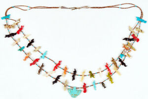 Antique-Fine-Zuni-Fetish-Heishi-Beads-Old-Bird-Pendant-Double-Strand-Necklace